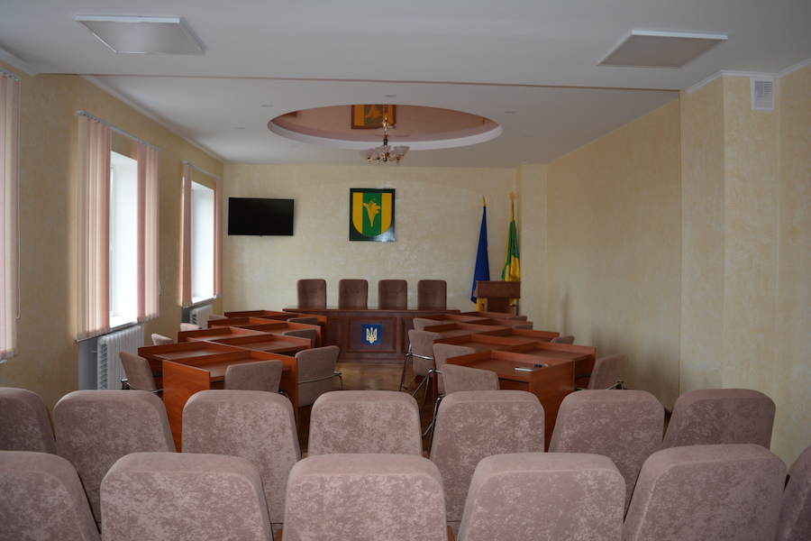 Обновлен малый зал в районном совете, г. Новоград-Волынский.